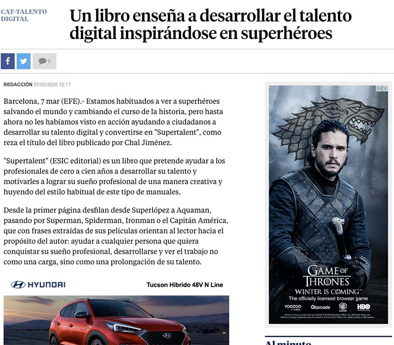 Noticia sobre Supertalent en La Vanguardia